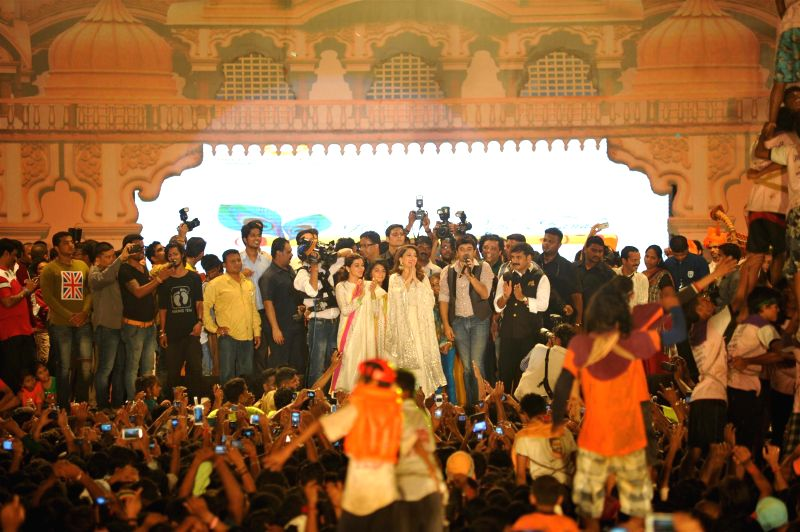 Actor Madhuri Dixit during Shri Sankalp Pratishthan`s Dahi Handi celebrations in Mumbai on Aug. 18, 2014. - Madhuri Dixit