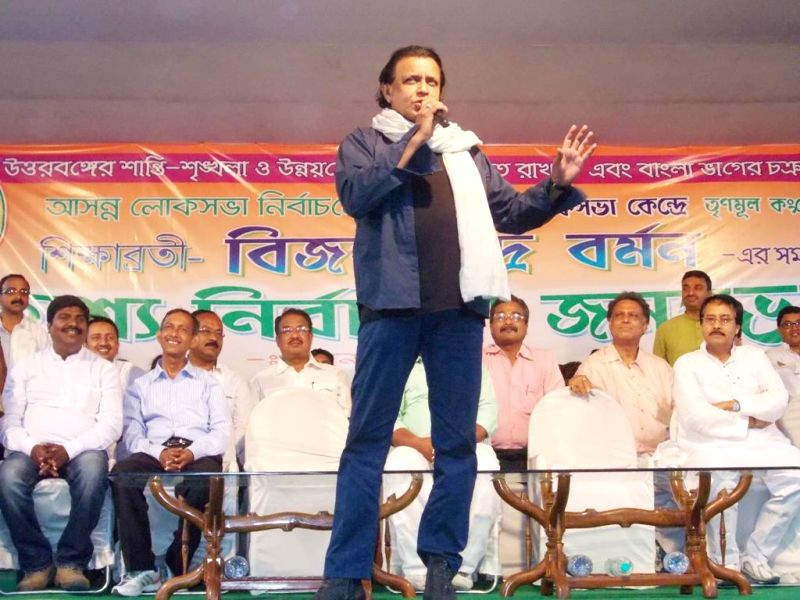 Actor Mithun Chakraborty addressing a rally organised by Trinamool Congress at Dabgram, Siliguri on April 12, 2014.