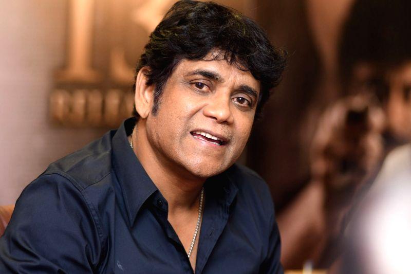 Actor Nagarjuna during the interview in Hyderabad. - Nagarjuna
