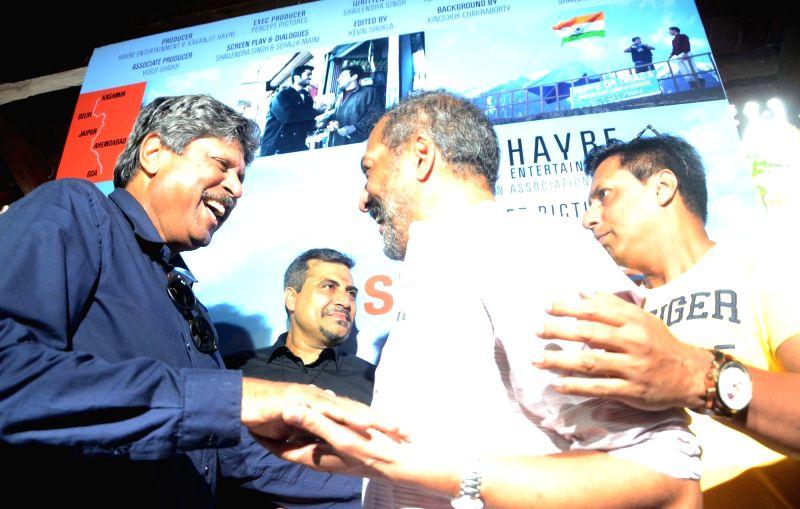 Actor Nana Patekar and Indian cricket legend Kapil Dev during a programme in Mumbai on July 25, 2016. Also seen Filmmaker Madhur Bhandarkar and producer Shailendra Singh. - Nana Patekar, Kapil Dev and Shailendra Singh