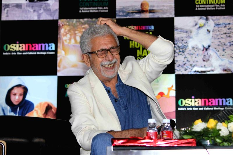 Actor Naseeruddin Shah and Neville Tuli, chairman, The Osian`s Group during the masterclass in acting orgnised by Osianama in Mumbai, on August 9, 2016. - Naseeruddin Shah