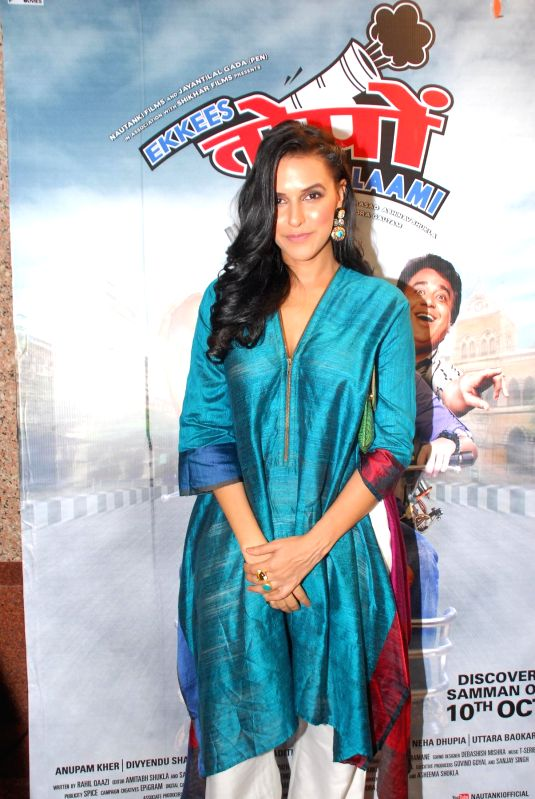 Actor Neha Dhupia during the promotion of film Ekkees Toppon Ki Salaami at Udaan 2014 in Mumbai, on Aug. 17, 2014. - Neha Dhupia