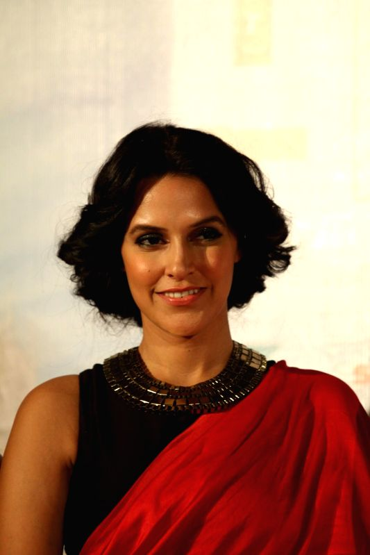 Actor Neha Dhupia during the trailer launch of film Ekkees Toppon Ki Salaami in Mumbai on Aug 11, 2014. - Neha Dhupia