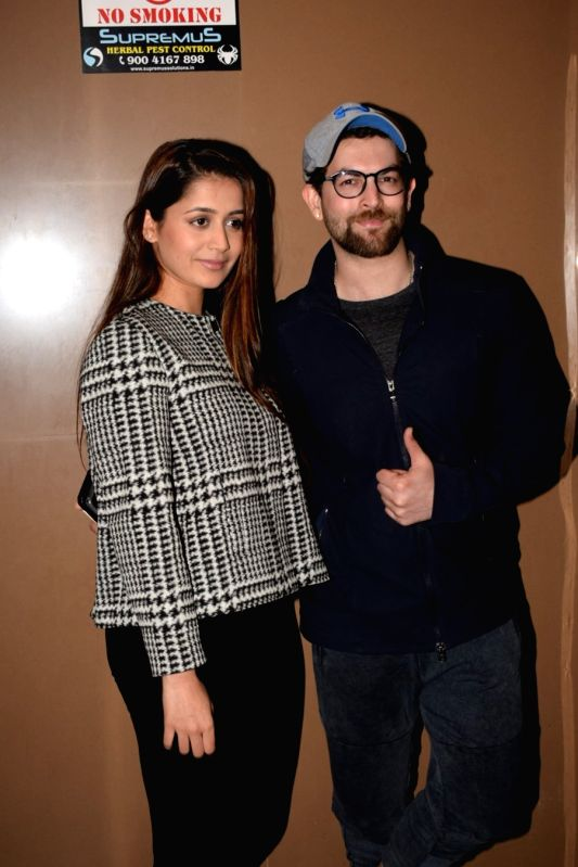 "Actor Neil Nitin Mukesh along with his wife Rukmini Sahay at the special screening of film ""Padmaavat"" in Mumbai on Jan 24, 2018."