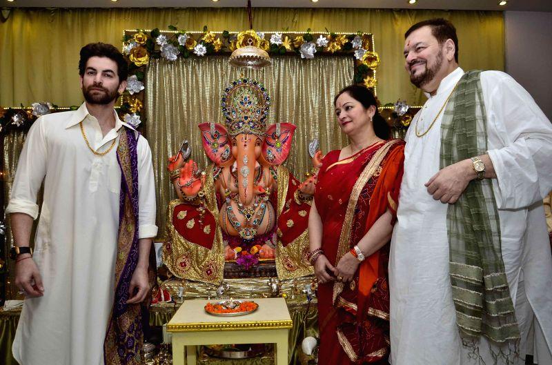 Actor Neil Nitin Mukesh celebrates Ganesh Festival at his house in Mumbai on Aug 29, 2014.