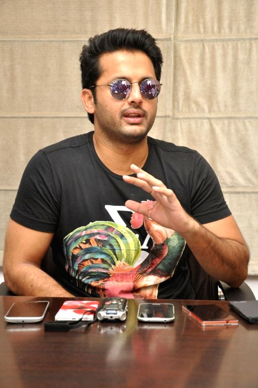 Actor Nithiin during a interview for his upcoming film 'A Aa'. - Nithiin
