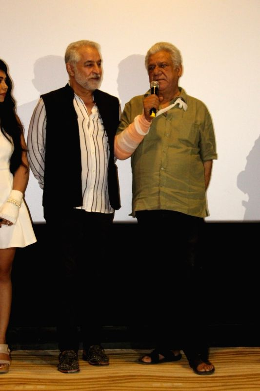 Actor  Om Puri  and Dilip Tahil  during the poster launch of film Project Marathwada in Mumbai on May 20, 2016. - O