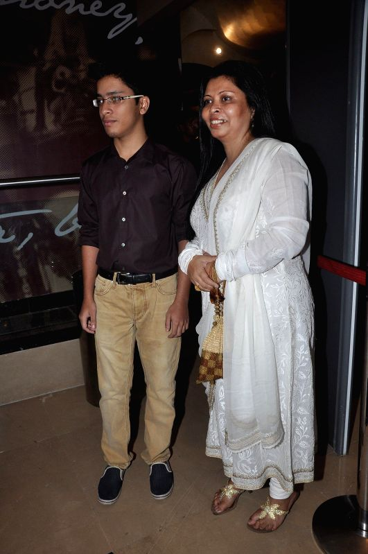 Actor Om Puri`s wife Nandita Puri and son Ishaan Puri during the screening of Hollywood film The Hundred-Foot Journey in Mumbai on August 7, 2014.