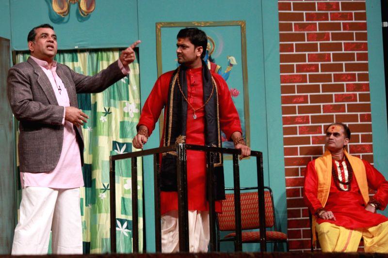 Actor Paresh Rawal performs during a play `Krishan vs Kanhaiya` in New Delhi, on Nov 25, 2015.