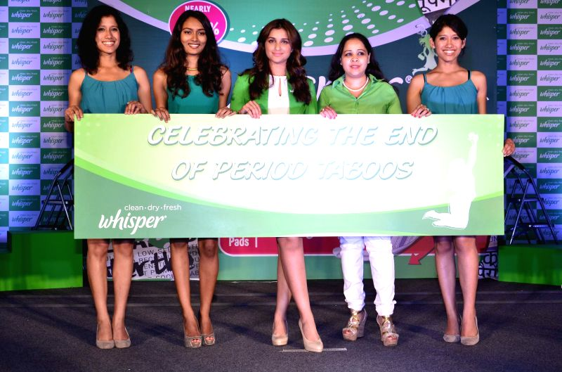 Actor Parineeti Chopra promotes Whisper sanitary napkins during the brands Touch the Pickle movement in Mumbai, on August 12, 2014. - Parineeti Chopra