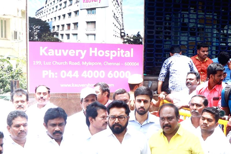 Actor-politician Ramanathan Sarathkumar at Kauvery Hospital where DMK President M. Karunanidhi is admitted, in Chennai on July 30, 2018.