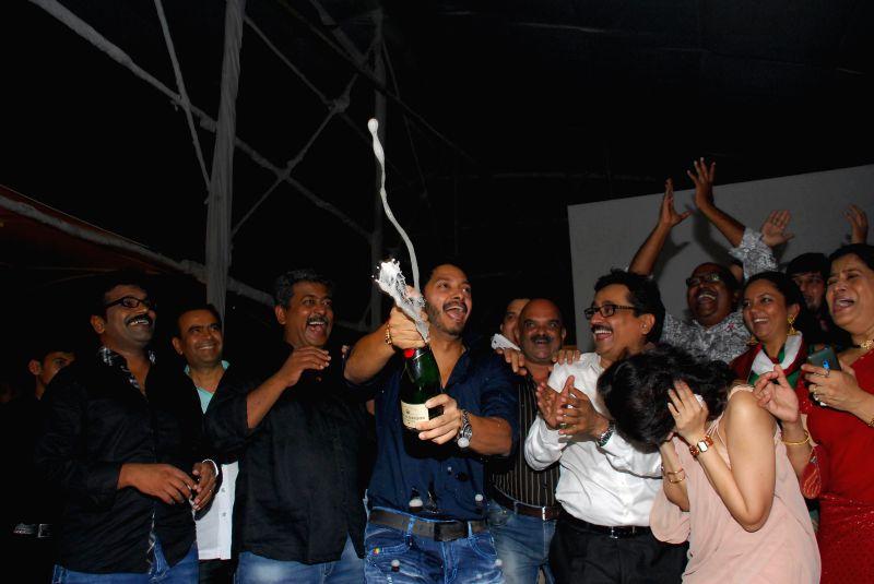 Actor Poshter Boyz Team during the success party of Marathi film Poshter Boyz in Mumbai, on Aug 19, 2014. - Poshter Boyz Team