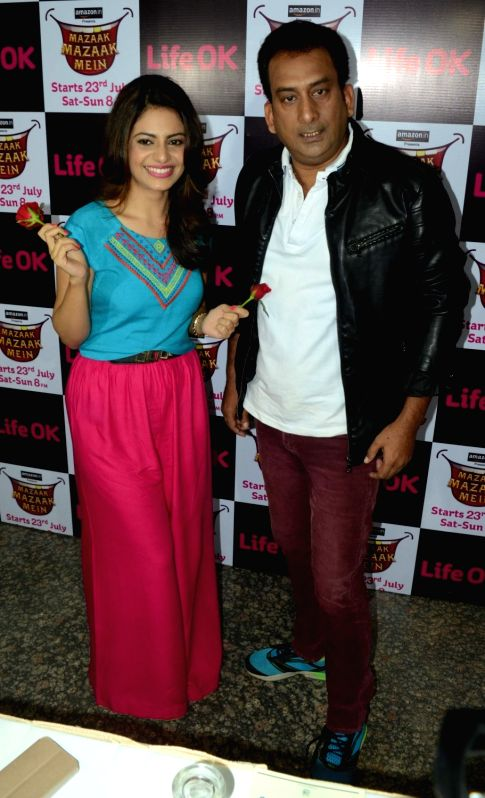 Actor Priya Raina and Hemant Pandey during the promotion of an upcoming comedy show in Bhopal on July 21, 2016. - Priya Raina and Hemant Pandey