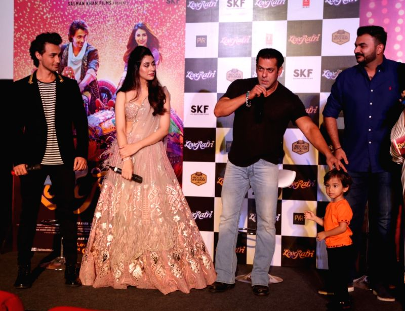 Actor-producer Salman Khan, with his brother-in-law Aayush Sharma and  actress Warina Hussain  at the promotion of film LoveRatri in New Delhi on Aug. 6, 2018. Salman Khan is launching his ... - Warina Hussain, Salman Khan and Aayush Sharma