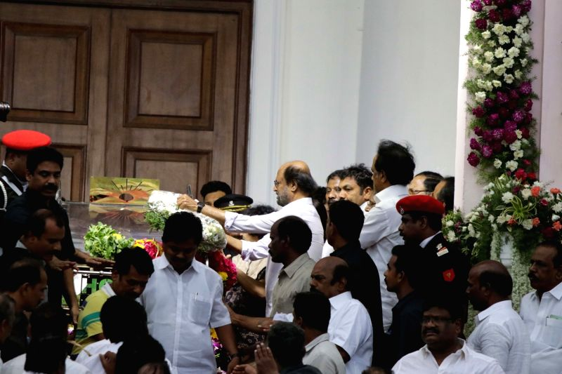 Actor Rajanikant pays last respect to DMK patriarch M. Karunanidhi at Rajaji Hall in Chennai on Aug. 8, 2018. - Rajanikant