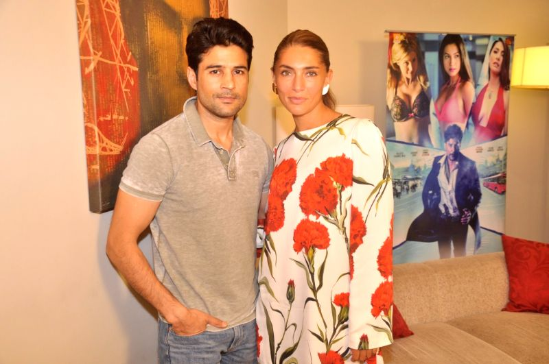 Actor Rajeev Khandelwal and Italian actress Caterina Murino during the media interaction of the film Fever, in Mumbai on July 26, 2016. - Rajeev Khandelwal