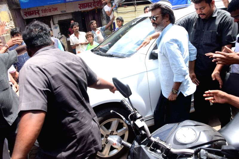 Actor Rajnikanth spotted at Wadala in Mumbai. - Rajnikanth