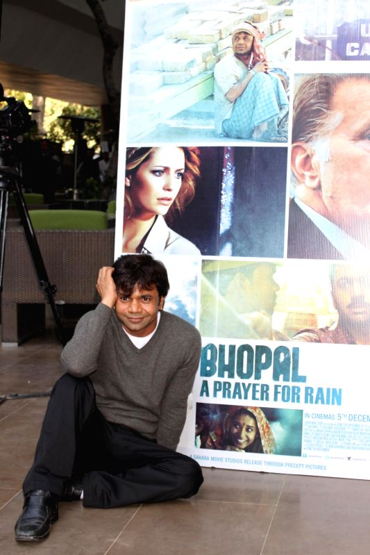 Actor Rajpal Yadav during the promotion of film ``Bhopal a Prayer for Rain in New Delhi on Dec 2, 2014. - Rajpal Yadav