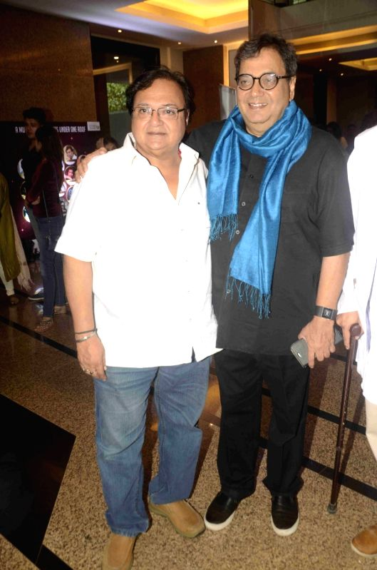 Actor Rakesh Bedi and filmmaker Subhash Ghai during the preview of play Chakravyuh in Mumbai, on June 11, 2017. - Rakesh Bedi