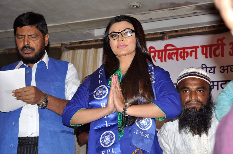 Actor Rakhi Sawant joins Republican Party of India (RPI) in the presence of party Chief Ramdas Athavale in Mumbai on June 28, 2014.