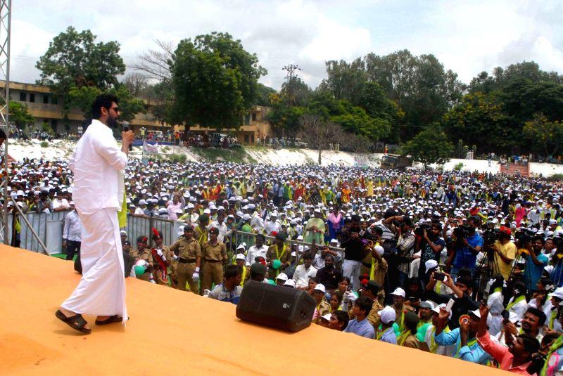 Actor Rana Daggubati addresses a gathering during tree plantation drive Yousufguda police line in Hyderabad on Aug 5, 2017. - Rana Daggubati
