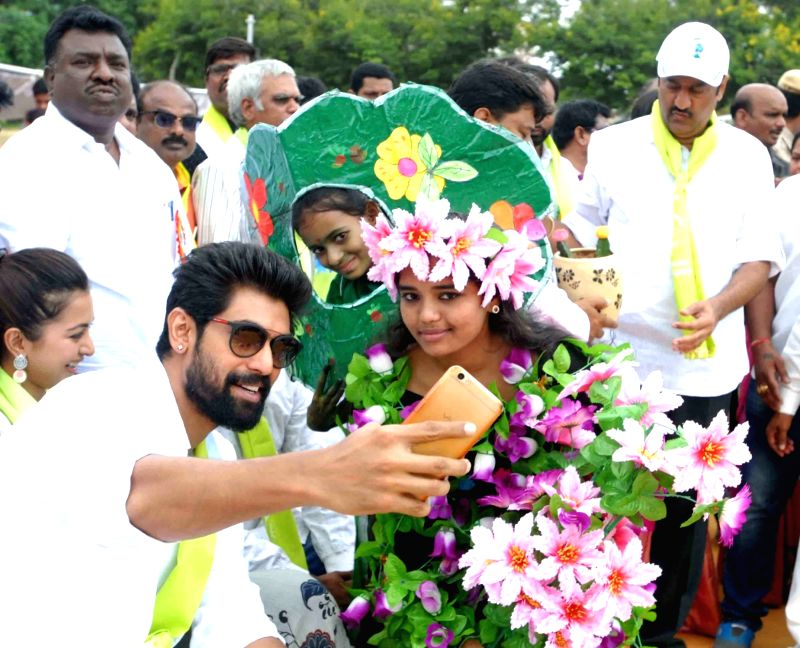 Actor Rana Daggubati during tree plantation drive at Yousufguda police line in Hyderabad on Aug 5, 2017. - Rana Daggubati