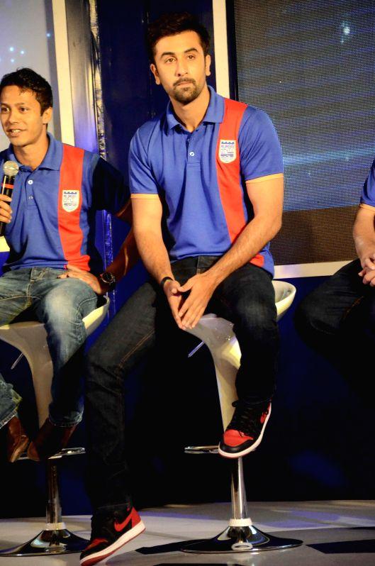 Actor Ranbir Kapoor during the Mumbai City FC football club team logo launch in Mumbai on Aug. 30, 2014. - Ranbir Kapoor