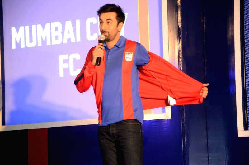 Actor Ranbir Kapoor during the Mumbai City FC football club team logo launch in Mumbai on Aug. 30, 2014. - Ranbir Kapoor