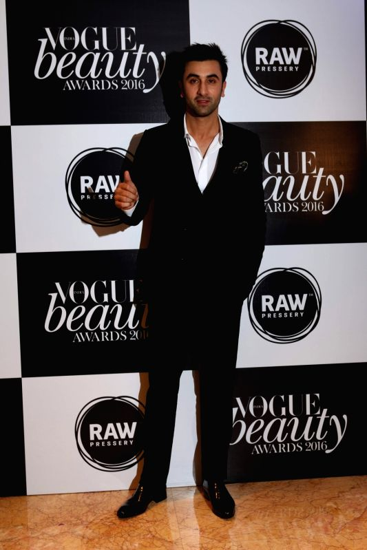 Actor Ranbir Kapoor, winner of Most Beautiful Man at the Vogue Beauty Awards 2016 at Taj Lands End, in Mumbai on July 27, 2016. - Ranbir Kapoor