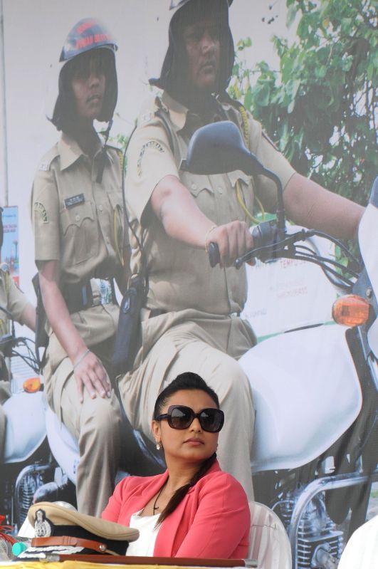 Actor Rani Mukerji during the flag off of a Women Beat Marshall's scheme, at Police Gymkhana in Mumbai, on Aug. 20, 2014. - Rani Mukerji