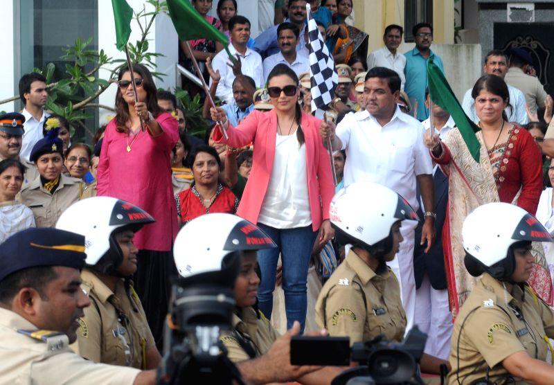 Actor Rani Mukerji during the flag off of a Women Beat Marshall`s scheme, at Police Gymkhana in Mumbai, on Aug. 20, 2014. - Rani Mukerji