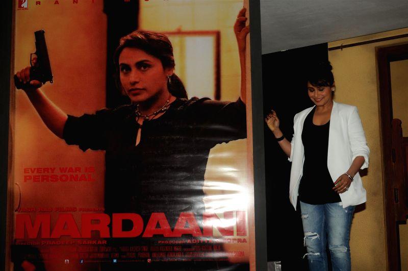 Actor Rani Mukerji during the promotion launch of upcoming film Mardaani trailer at YRF Studios in Mumbai on June 24, 2014. - Rani Mukerji