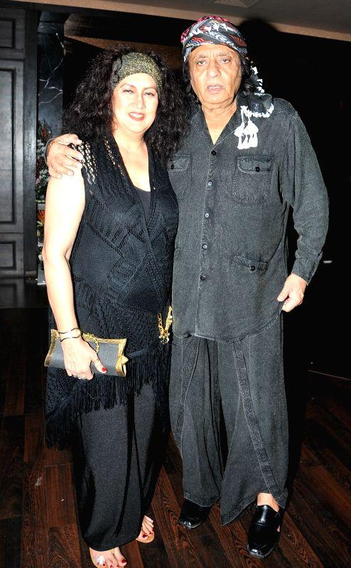 Actor Ranjit and Nazneen during  Deepshikha Nagpal`s birthday party in Mumbai, on Aug 19, 2015. - Ranjit