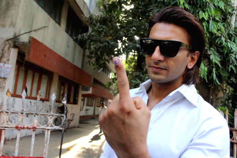 Actor Ranveer Singh after casting his vote for the Lok Sabha elections, in Mumbai, on April 24, 2014. - Ranveer Singh