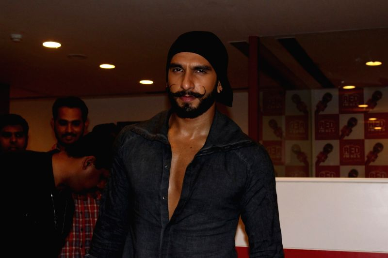 Actor Ranveer Singh during the promotion of film Bajirao Mastani at Red FM studio in Mumbai on Dec 9, 2015. - Ranveer Singh