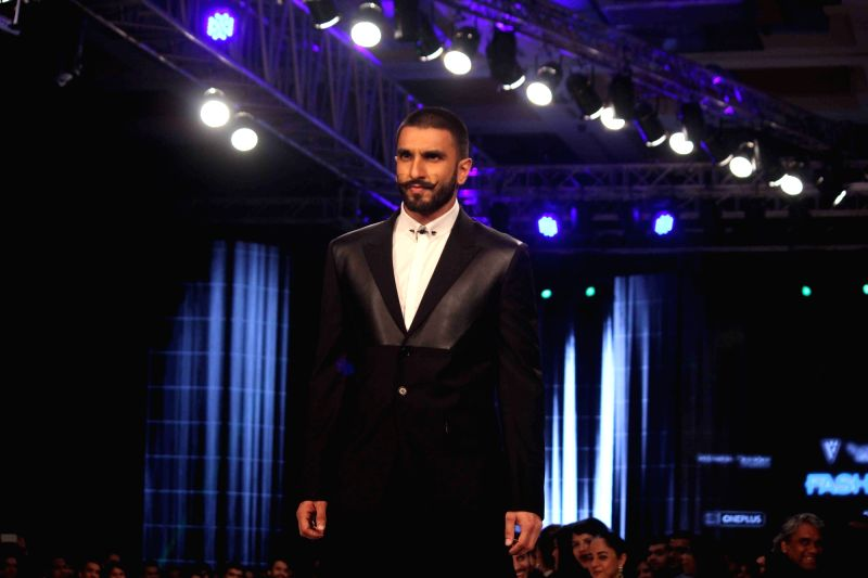 Actor Ranveer Singh during the Van Heusen GQ Fashion Nights 2015 Day 2 in Mumbai on Dec 2, 2015. - Ranveer Singh