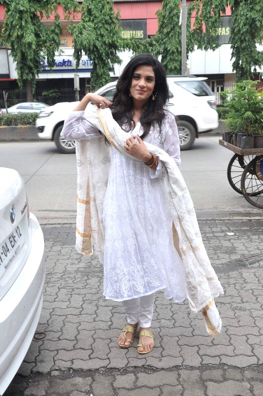 Actor Richa Chadda during the promotion of film Tamanchey in Mumbai on Aug 15, 2014. - Richa Chadda