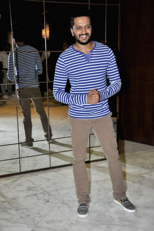 Actor Riteish Deshmukh during the media interaction of film Housefull 3, in Mumbai on May 28, 2016. - Riteish Deshmukh