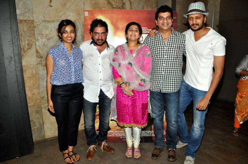Actor Riteish Deshmukh during the special screening of his upcoming Marathi film 'Lai Bhari' in Mumbai, on July 8.
