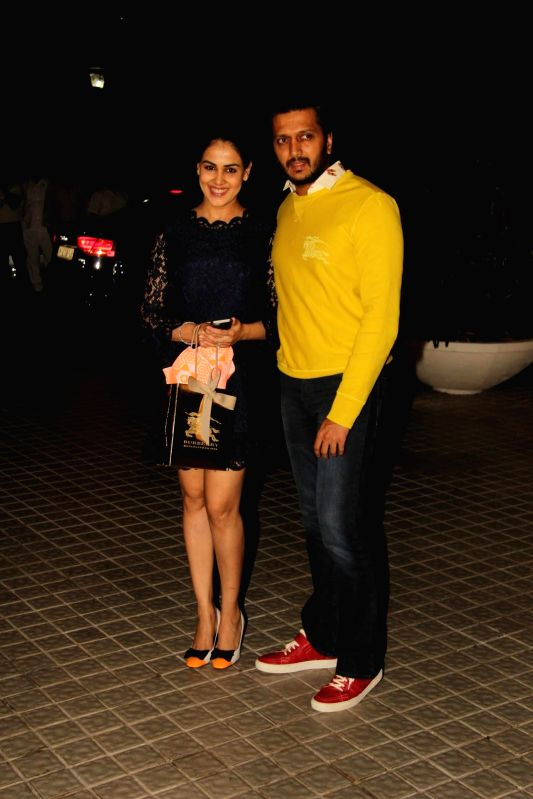Actor Riteish Deshmukha and Genelia D'Souza during the birthday party of Farah Khan in Mumbai, on jan. 08, 2015. - Riteish Deshmukha and Genelia D'Souza