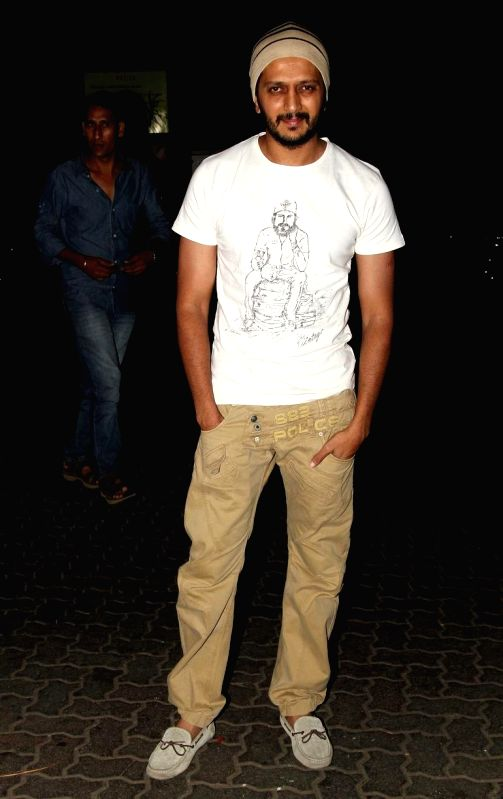 Actor Ritesh Deshmukh at Sidharth Malhotra hosted party for Ek Villain success at his residence in Mumbai on June 28, 2014. - Ritesh Deshmukh