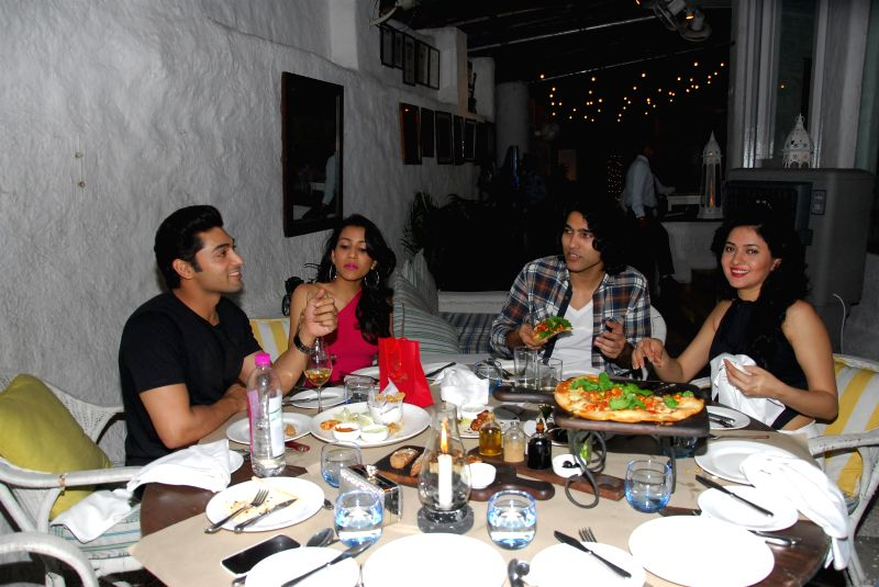Actor Ruslaan Mumtazwith and wife Nirali, musician Naresh Kamath, and actor Sonal Sehgal during the birthday party of Sonal Sehgal at Olive Bar & Kitchen in Mumbai on July 12, 2014. - Ruslaan Mumtazwith