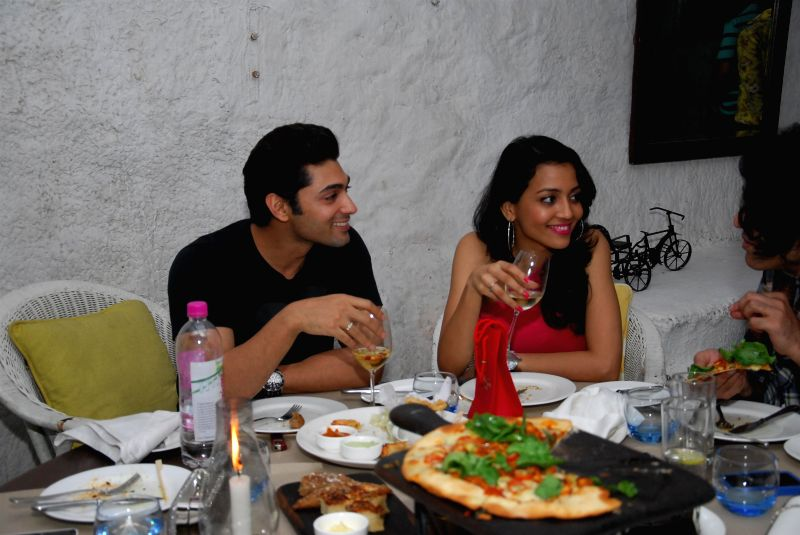 Actor Ruslaan Mumtazwith wife Nirali during the birthday party of Sonal Sehgal in Mumbai on July 12, 2014. - Ruslaan Mumtazwith
