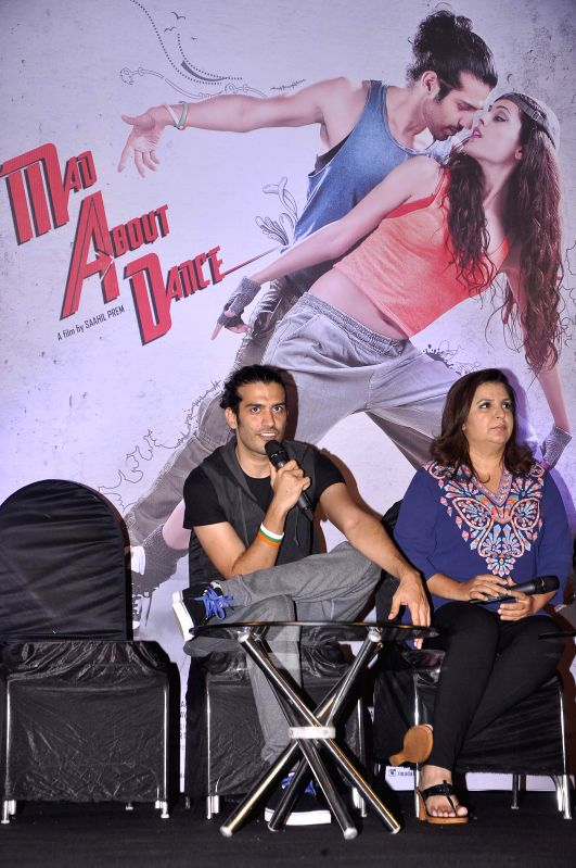 Actor Saahil Prem and filmmaker Farah Khan during the trailer launch of the film Mad About Dance in Mumbai on July 16, 2014. - Saahil Prem and Farah Khan
