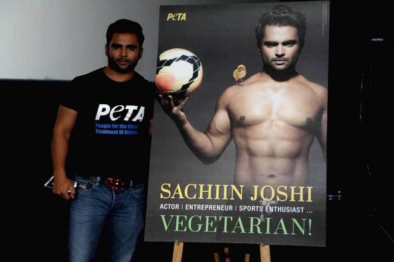 Actor Sachiin Joshi during the release of Sachin's newest vegetarian ad on People for the Ethical Treatment of Animals in Mumbai on August 6, 2014. - Sachiin Joshi