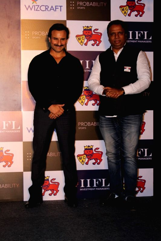 Actor Saif Ali Khan and Mumbai Cricket Association (MCA) president Ashish Shelar at the launch of Mumbai T20 League by Mumbai Cricket Association (MCA) on Dec 7, 2017. - Saif Ali Khan