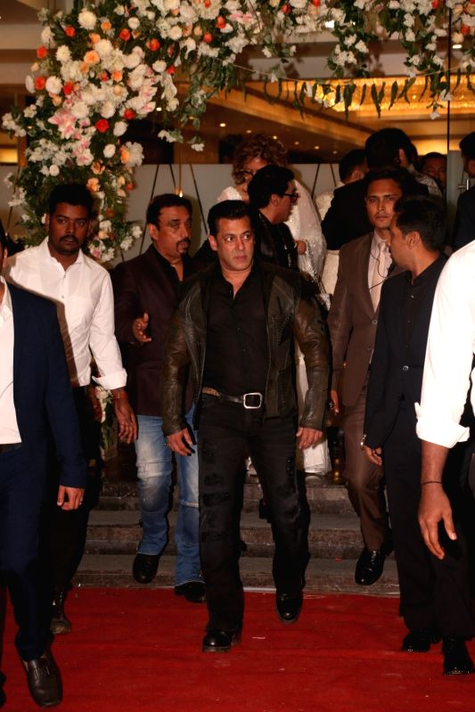 Actor Salman Khan at Azhar Morani and Tanya Seth's wedding reception in Mumbai on Feb. 9, 2019. - Salman Khan and Tanya Seth