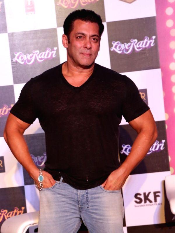 Actor Salman Khan at the promotion of film LoveRatri in New Delhi on Aug. 6, 2018. - Salman Khan