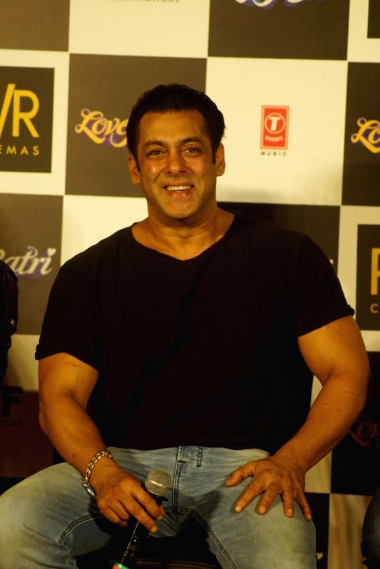"Actor Salman Khan at the trailer launch of his upcoming film ""Loveratri"" in Mumbai on Aug 6, 2018. - Salman Khan"
