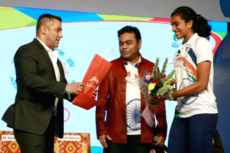 Actor Salman Khan, badminton player PV Sindhu and composer AR Rahman during the sendoff ceremony of Indian Contingent for Rio Olympics 2016, organised by Indian Olympic Association, in New ... - Salman Khan